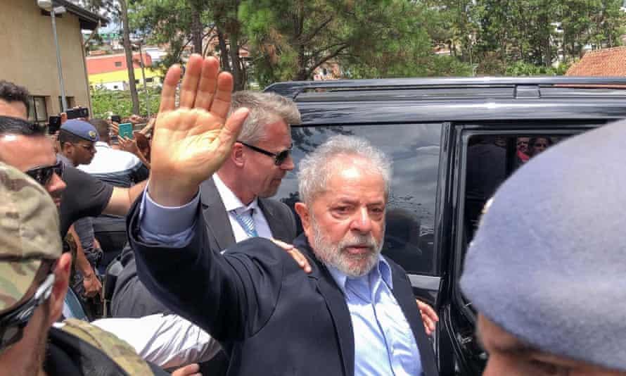 Brazil's former President Luiz Inácio Lula da Silva, leaves for the cemetery to attend the funeral of his seven-year-old grandson in São Bernardo do Campo.