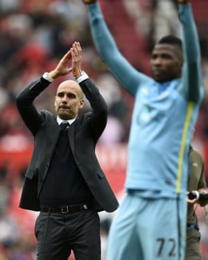 Pep Guardiola then applauds the City faithful.