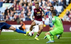 Jack Grealish scores for Aston Villa against Brighton in October.