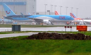 A grounded TUI Boeing 737 Max aircraft at Schiphol airport
