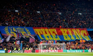 Barcelona's supporters hold a giant banner paying tribute to Lionel Messi before the match. They had barely packed it away when the Argentinian scored his first goal.
