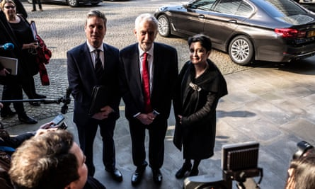 Keir, Starmer, Jeremy Corbyn and Shami Chakrabarti in Brussels.