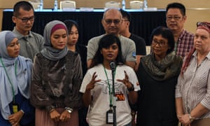 Grace Nathan, daughter of missing Malaysia Airlines flight MH370 passenger Anne Daisy, speaks during a press conference after being presented with the final investigation report on the missing flight.