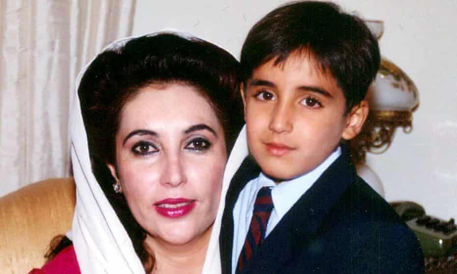 Bilawal Bhutto Zardari with his mother Benazir Bhutto