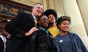 Bill de Blasio poses with his wife, Chirlane McCray, son, Dante de Blasio, and daughter, Chiara de Blasio, after voting in the 2013 mayoral race.