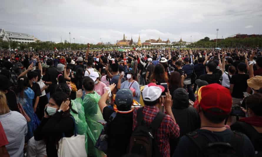 Pro-democracy protesters in Sanam Luang in Bangkok.