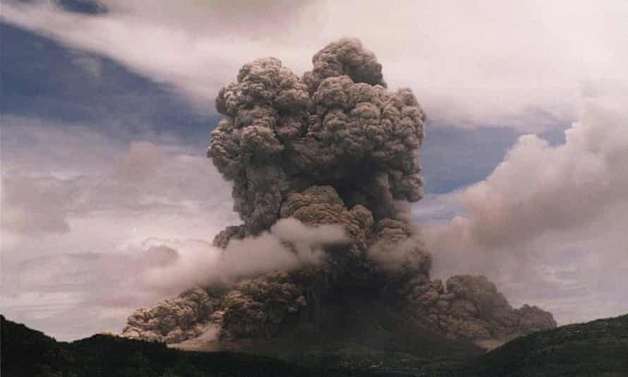 Smoke and ash billow from the Soufrière Hills volcano on Montserrat in August 1997.