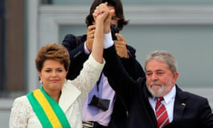 Brazil's president Dilma Rousseff with Luiz Inácio Lula da Silva outside Palácio do Planalto, Brasilia, in 2011.