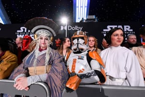 Fans in Star Wars costumes.