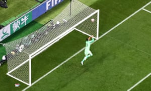Croatia's Danijel Subasic concedes as England's Kieran Trippier scores their first goal from a free kick