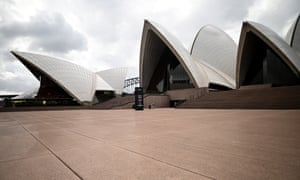 A deserted Sydney Opera House's forecourt after the Australian government shut down non-essential services to curb the spread of coronavirus.