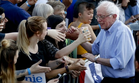 Presidential hopeful Senator Bernie Sanders greets supporters after a campaign rally on Sunday in Pittsburgh.