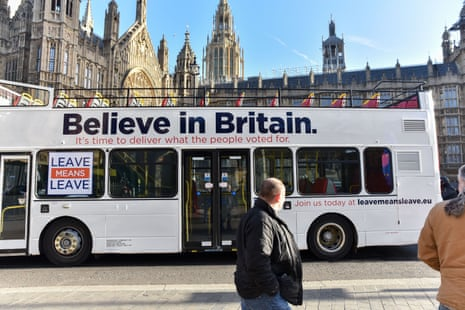 A pro-Brexit campaign bus in London, January 2019.