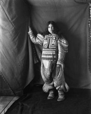 Portrait of Inuit woman - Kootucktuck- in her beaded attigi. Fullerton Harbour, Nunavut February 1905