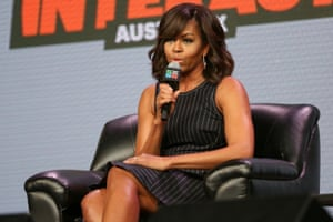 Michelle Obama speaks at a panel discussion during South By Southwest.