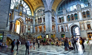 Main entrance hall of Antwerp Central Station.