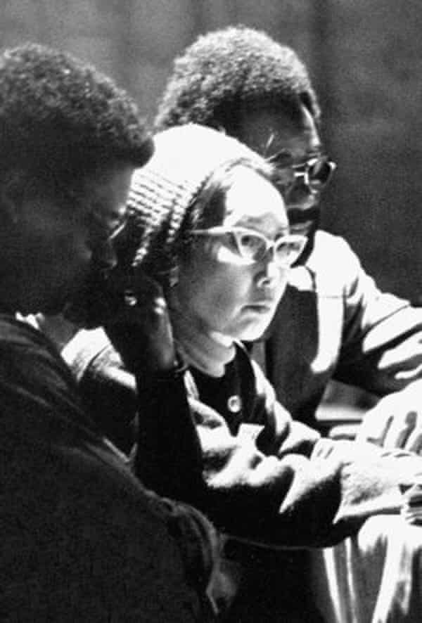 Yuri Kochiyama with two civil rights activists. Kochiyama fought for Latino, African American, Native American and Asian American civil rights and causes. She held weekly open houses for activists in her Harlem apartment.