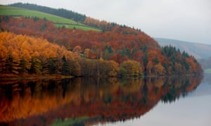 The Ladybower reservoir in the Peak District.
