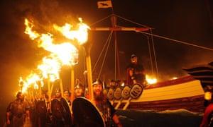 A replica Viking longboat in the Up Helly Aa festival in Lerwick, Shetland Islands