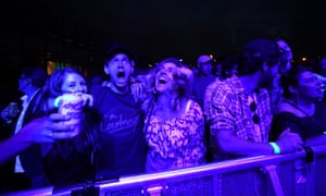 Fans enjoy the music at the Wondergarden Festival during the celebrations at Silo Park in Auckland, New Zealand.