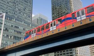 DLR Train Passing Through Canary Wharf