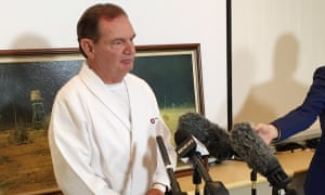 The former mayor of Ipswich Paul Pisasale resigns at a press conference in early June.