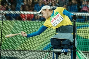 Ukraine's Zoia Ovsii competes during the final of women's club throw F51
