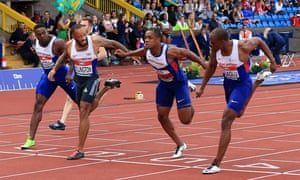 The British Championships Birmingham: Day Two  - JUNE 25: James Dasaolu, James Ellington and CJ Ujah finish first, second and third in the mens 100m at Alexander Stadium.