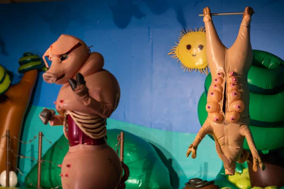 Latex pigs in an art exhibition.