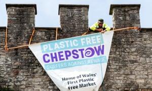 Plastic banner on battlements in Chepstow