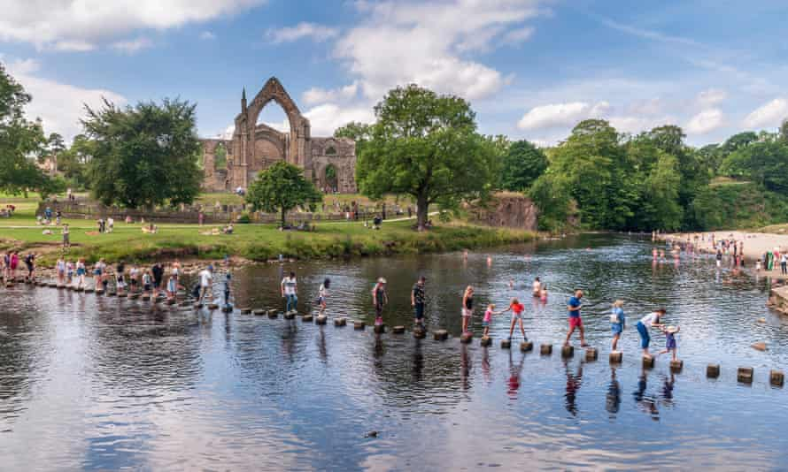 Bolton Abbey stepping stones on the River Wharfe.