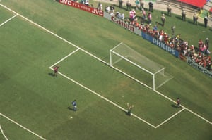 Brazilian goalkeeper Claudio Taffarel celebrates after Roberto Baggio of Italy missed the crucial penalty during the 1994 World Cup final.
