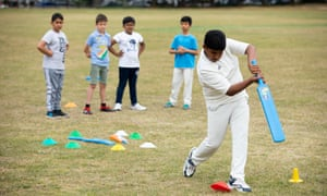 Young south Asian heritage cricketers training in Leyton