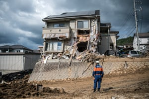 A house destroyed by a landslide in Kumano, near Hiroshima