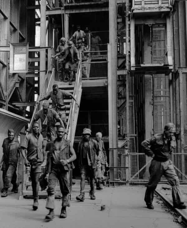 Miners leaving work at the Sallies mine near Johannesburg.