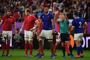 France's lock Sebastien Vahaamahina receives a red card.