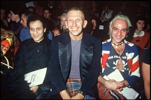 Alaia often sat front row for other designer's collections. Here he is seen in 1994 with Jean-Paul Gaultier and John Galliano at a Vivienne Westwood show.