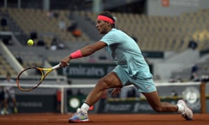 Spain's Rafael Nadal plays a shot on his way to victory against Egor Gerasimov of Belarus.