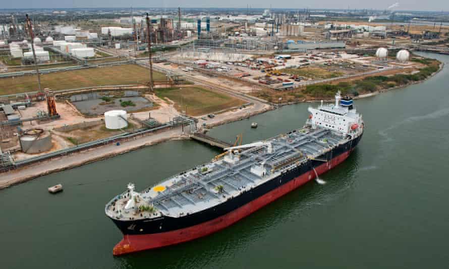 A tanker at the Port of Corpus Christi in Corpus Christi, Texas.