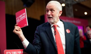 Jeremy Corbyn launching the Labour party manifesto last week.