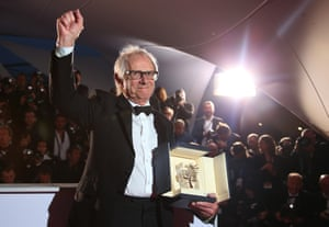 Ken Loach poses for photographers with the Palme d'Or for I, Daniel Blake