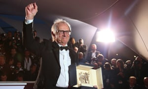 Ken Loach with his Palme d'Or for I, Daniel Blake.