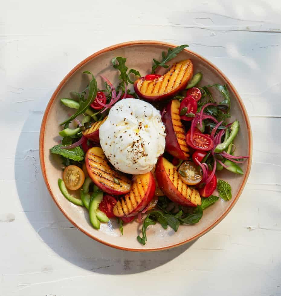 Thomasina Miers' nectarine and burrata salad.