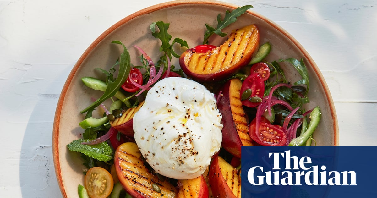 Thomasina Miers' recipe for grilled nectarine and burrata with pickled onions
