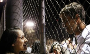 Beto O'Rourke greets a supporter after his El Paso speech.