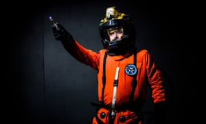 Marcus Groves dressed as David Tennant's Doctor in the space suit he wore while visiting Sanctuary Base 6 in the 2006 series.