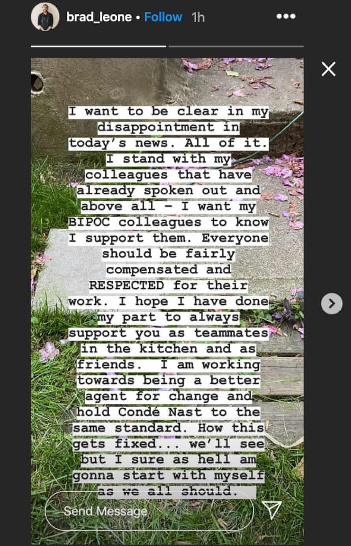 Brad Leone's Instagram statement about racism at Bon Appetite