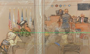 A court illustration of James Mitchell giving evidence at a military commission on Guantánamo Bay