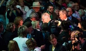 Australian Prime Minister Scott Morrison and opposition leader Bill Shorten with members of the public
