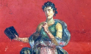 Calliope, muse of epic poetry, portrayed on the walls of Roman Pompeii, Italy.
